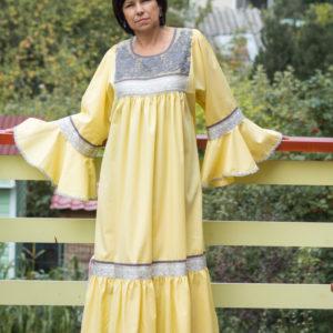 Платье нежно жёлтое в русском стиле